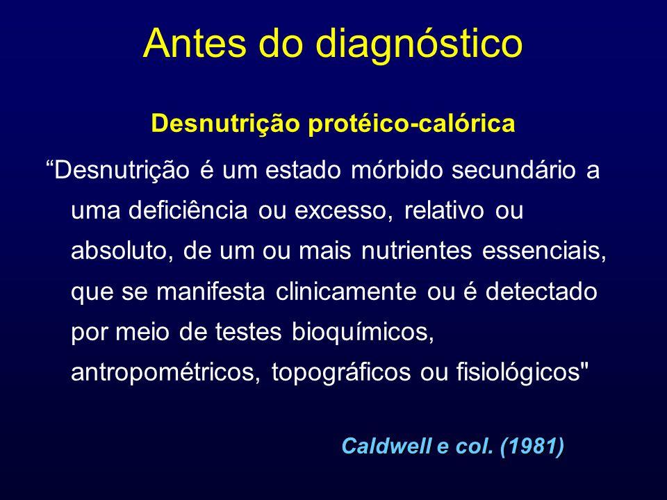 Antes do diagnóstico Desnutrição protéico-calórica Desnutrição é um estado mórbido secundário a uma deficiência ou excesso, relativo ou absoluto, de u