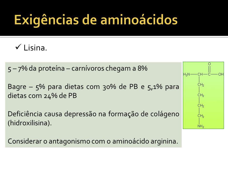 Lisina. 5 – 7% da proteína – carnívoros chegam a 8% Bagre – 5% para dietas com 30% de PB e 5,1% para dietas com 24% de PB Deficiência causa depressão