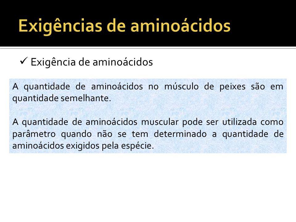 Exigência de aminoácidos A quantidade de aminoácidos no músculo de peixes são em quantidade semelhante. A quantidade de aminoácidos muscular pode ser