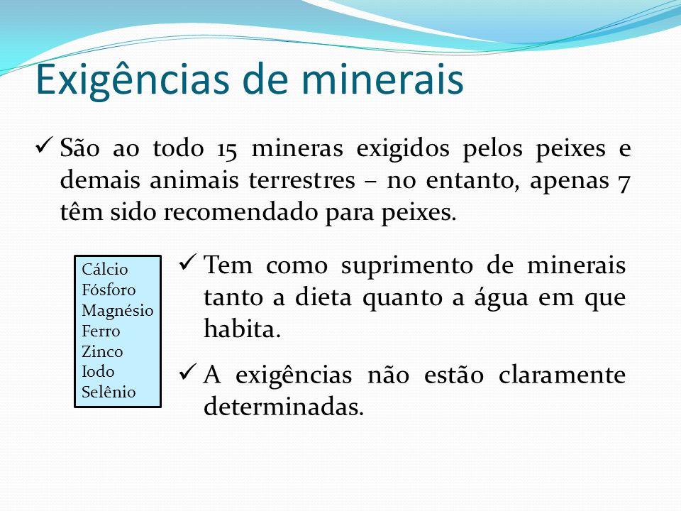 Exigências de minerais São ao todo 15 mineras exigidos pelos peixes e demais animais terrestres – no entanto, apenas 7 têm sido recomendado para peixe