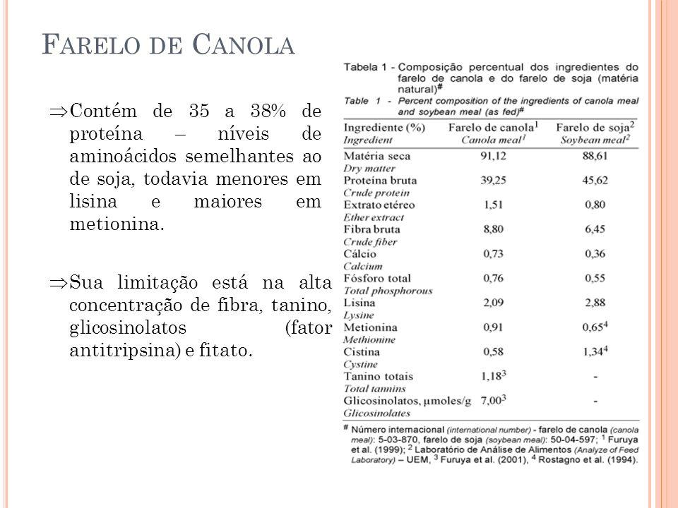 F ARELO DE C ANOLA Contém de 35 a 38% de proteína – níveis de aminoácidos semelhantes ao de soja, todavia menores em lisina e maiores em metionina. Su