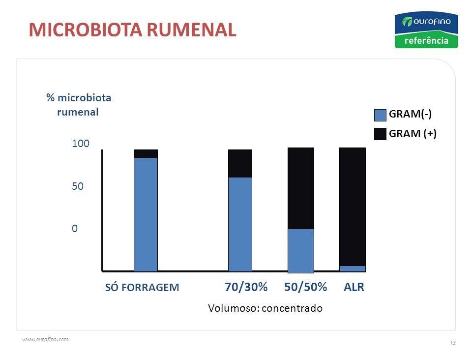 www.ourofino.com 13 MICROBIOTA RUMENAL % microbiota rumenal SÓ FORRAGEM 70/30% 50/50% ALR 100 50 0 GRAM(-) GRAM (+) Volumoso: concentrado
