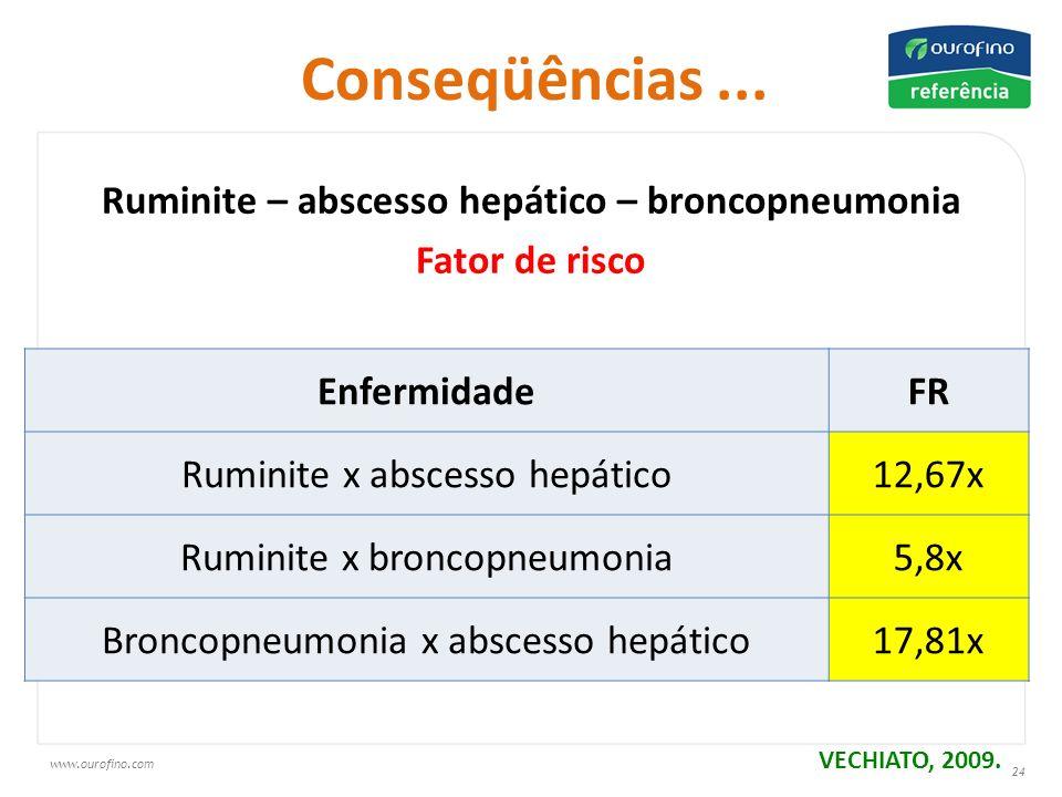 www.ourofino.com 24 Ruminite – abscesso hepático – broncopneumonia Fator de risco VECHIATO, 2009 EnfermidadeFR Ruminite x abscesso hepático12,67x Ruminite x broncopneumonia5,8x Broncopneumonia x abscesso hepático17,81x Conseqüências...