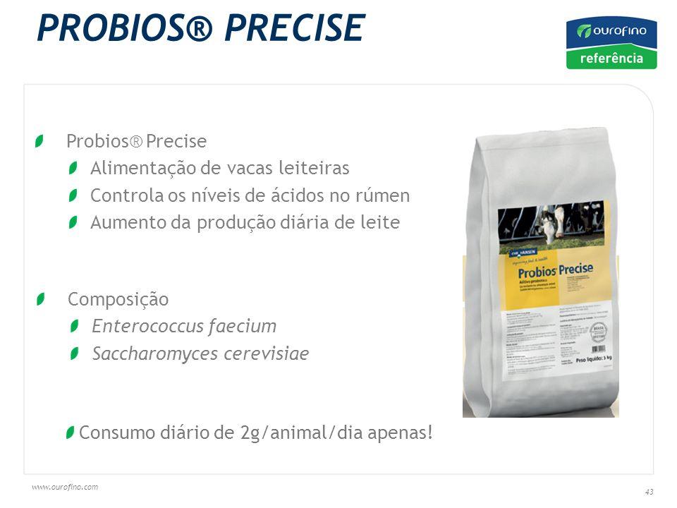 www.ourofino.com 43 Probios® Precise Alimentação de vacas leiteiras Controla os níveis de ácidos no rúmen Aumento da produção diária de leite PROBIOS® PRECISE Composição Enterococcus faecium Saccharomyces cerevisiae Consumo diário de 2g/animal/dia apenas!