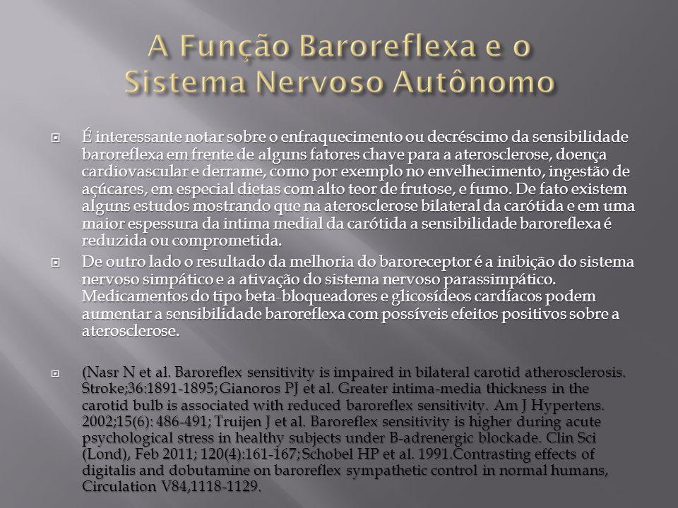 É interessante notar sobre o enfraquecimento ou decréscimo da sensibilidade baroreflexa em frente de alguns fatores chave para a aterosclerose, doença