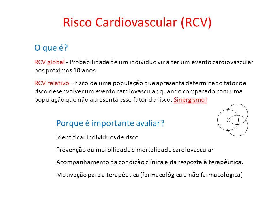 Risco Cardiovascular (RCV) O que é? RCV global - Probabilidade de um indivíduo vir a ter um evento cardiovascular nos próximos 10 anos. RCV relativo –