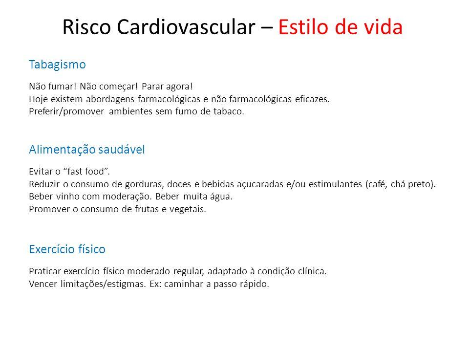 Risco Cardiovascular – Estilo de vida Tabagismo Não fumar! Não começar! Parar agora! Hoje existem abordagens farmacológicas e não farmacológicas efica