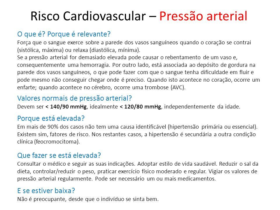 Risco Cardiovascular – Pressão arterial O que é? Porque é relevante? Força que o sangue exerce sobre a parede dos vasos sanguíneos quando o coração se