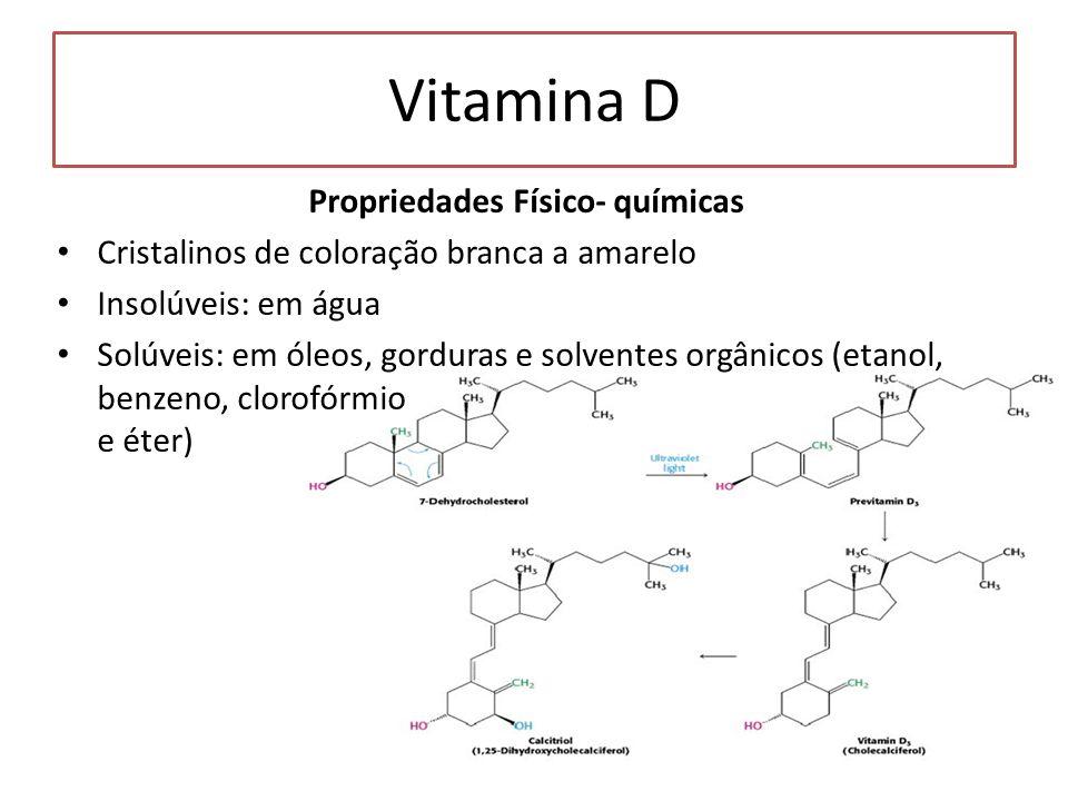 Propriedades Físico- químicas Cristalinos de coloração branca a amarelo Insolúveis: em água Solúveis: em óleos, gorduras e solventes orgânicos (etanol