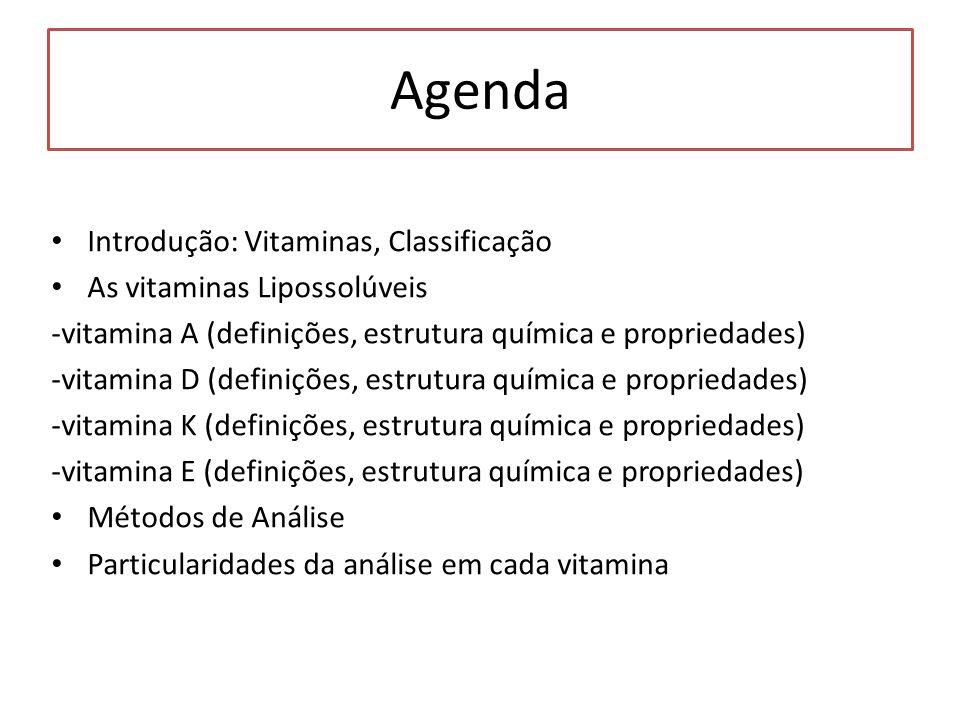 Agenda Introdução: Vitaminas, Classificação As vitaminas Lipossolúveis -vitamina A (definições, estrutura química e propriedades) -vitamina D (definiç