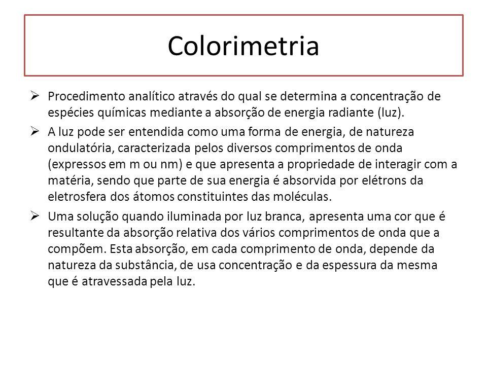 Colorimetria Procedimento analítico através do qual se determina a concentração de espécies químicas mediante a absorção de energia radiante (luz). A