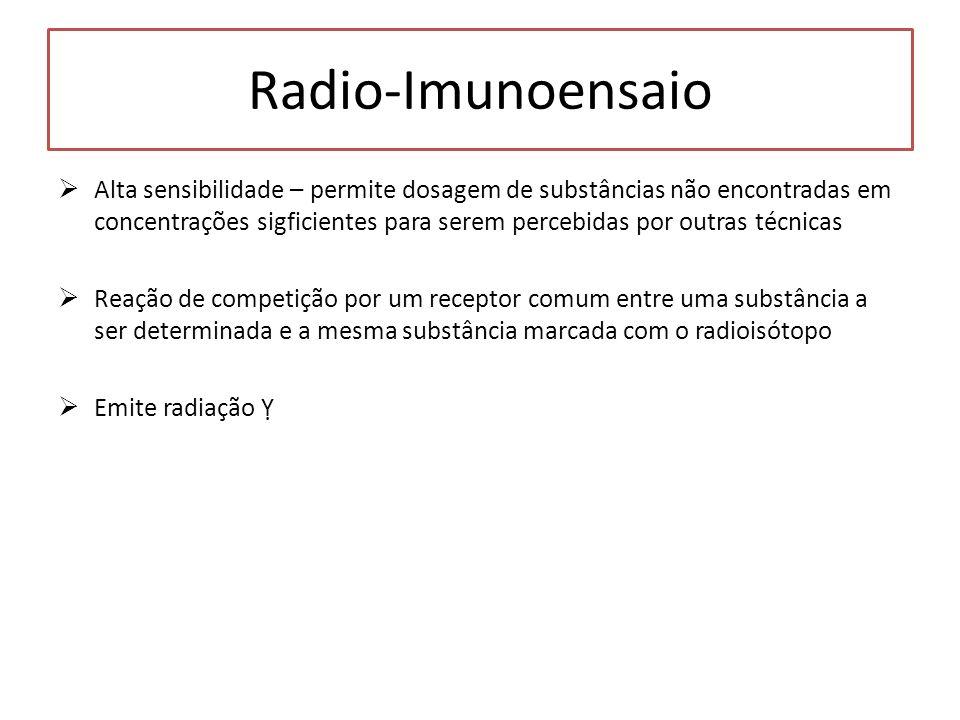 Radio-Imunoensaio Alta sensibilidade – permite dosagem de substâncias não encontradas em concentrações sigficientes para serem percebidas por outras t