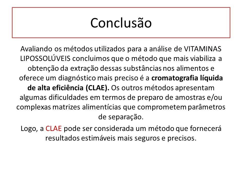 Avaliando os métodos utilizados para a análise de VITAMINAS LIPOSSOLÚVEIS concluimos que o método que mais viabiliza a obtenção da extração dessas sub