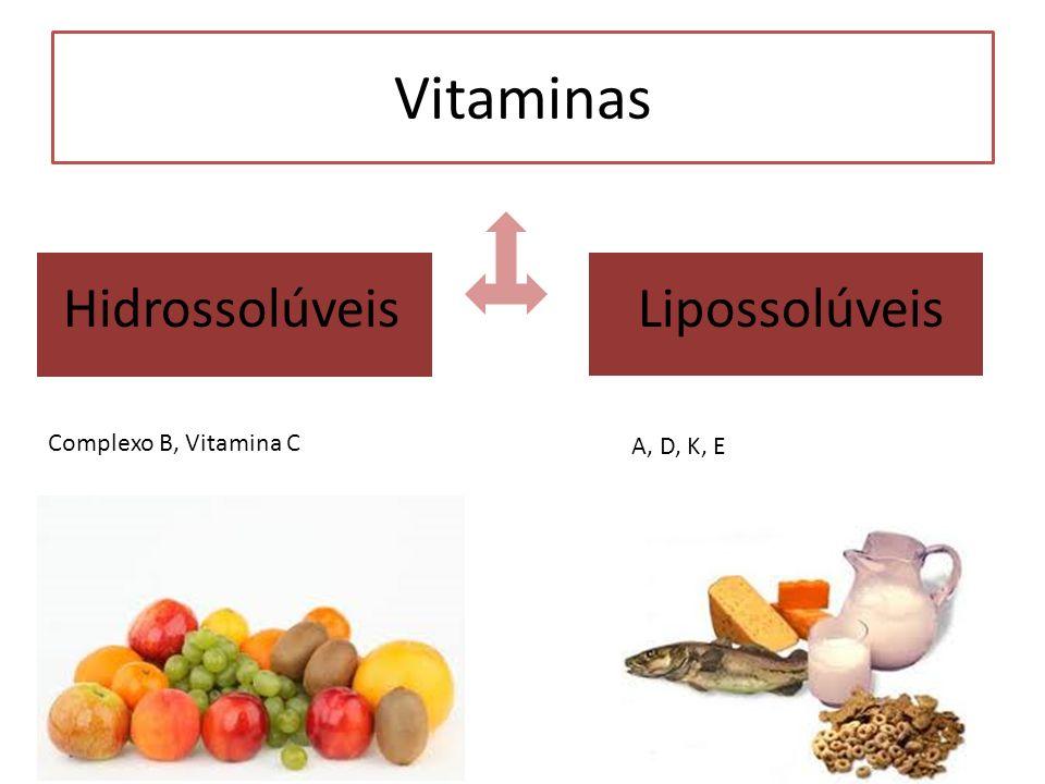 Vitaminas Hidrossolúveis Lipossolúveis A, D, K, E Complexo B, Vitamina C