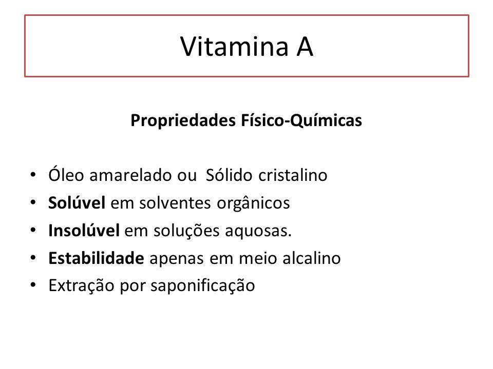 Vitamina A Propriedades Físico-Químicas Óleo amarelado ou Sólido cristalino Solúvel em solventes orgânicos Insolúvel em soluções aquosas. Estabilidade