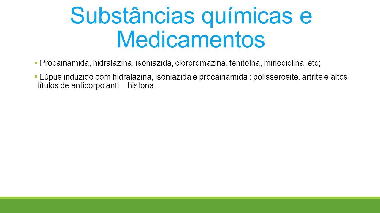 Substâncias químicas e Medicamentos Procainamida, hidralazina, isoniazida, clorpromazina, fenitoína, minociclina, etc; Lúpus induzido com hidralazina,