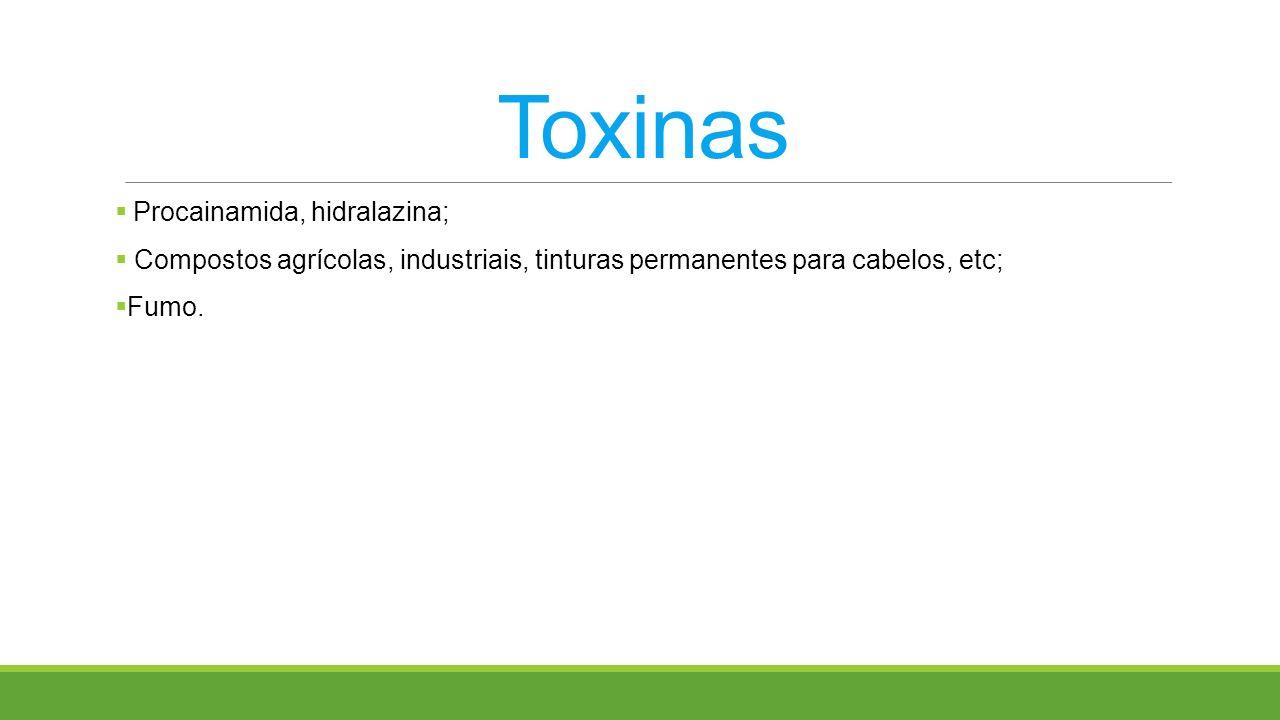Toxinas Procainamida, hidralazina; Compostos agrícolas, industriais, tinturas permanentes para cabelos, etc; Fumo.