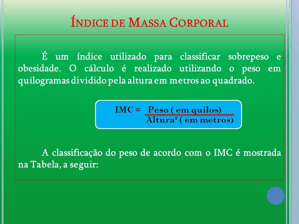 Í NDICE DE M ASSA C ORPORAL É um índice utilizado para classificar sobrepeso e obesidade. O cálculo é realizado utilizando o peso em quilogramas divid
