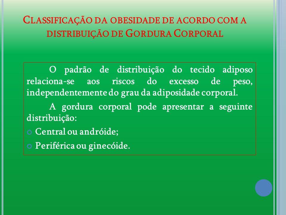 C LASSIFICAÇÃO DA OBESIDADE DE ACORDO COM A DISTRIBUIÇÃO DE G ORDURA C ORPORAL O padrão de distribuição do tecido adiposo relaciona-se aos riscos do e