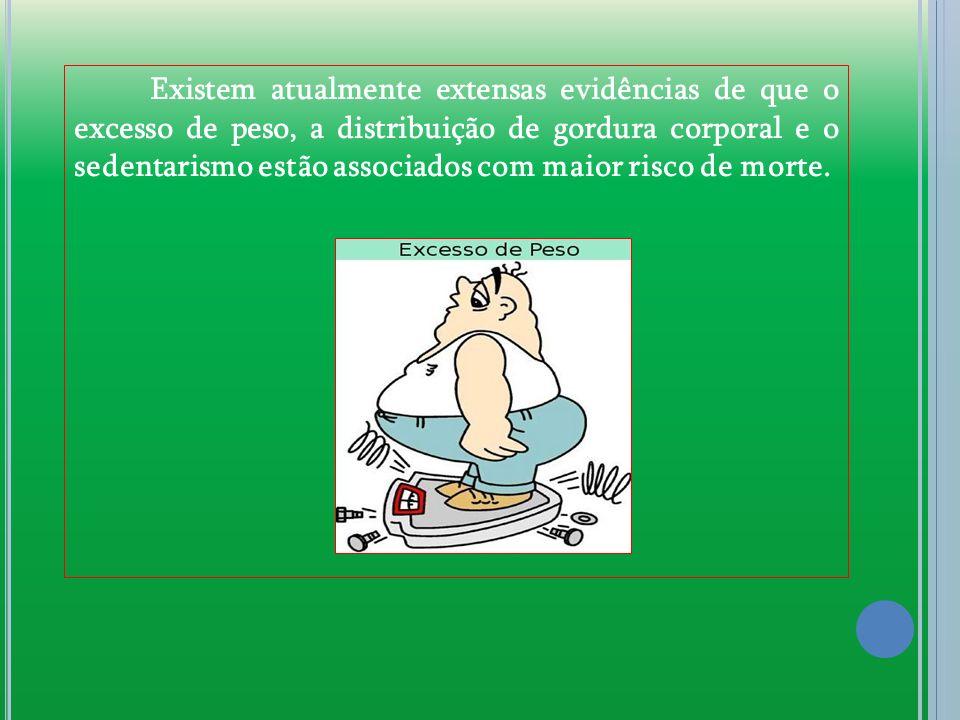Existem atualmente extensas evidências de que o excesso de peso, a distribuição de gordura corporal e o sedentarismo estão associados com maior risco
