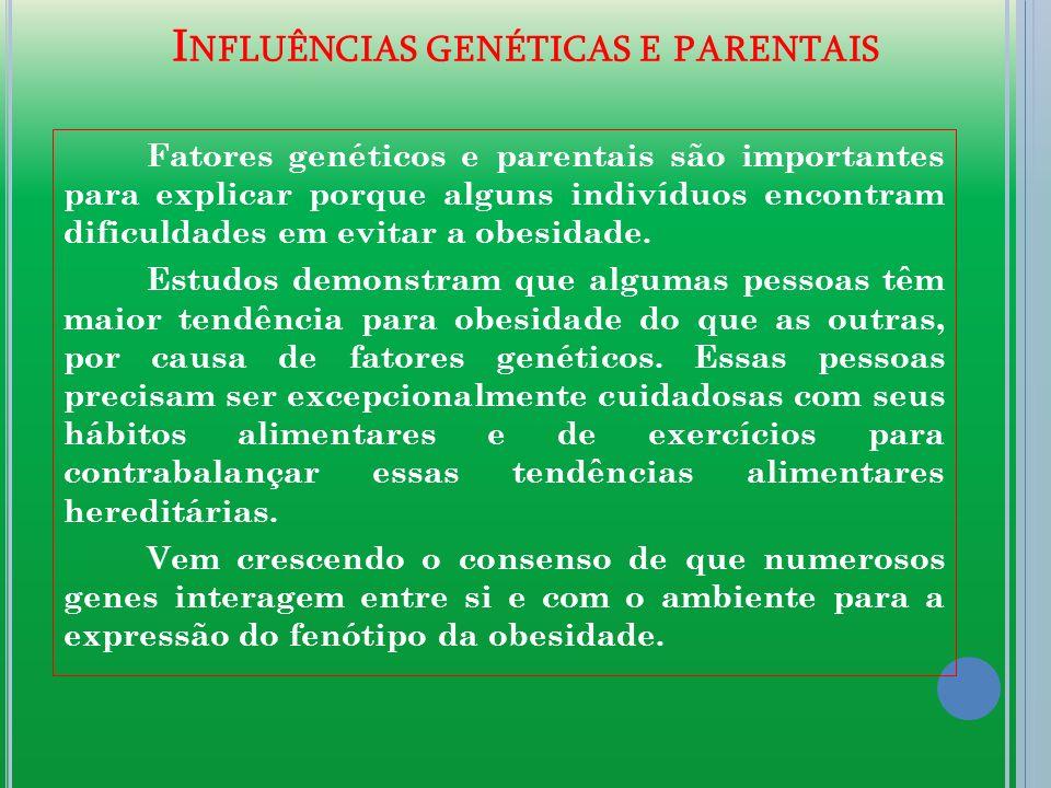 I NFLUÊNCIAS GENÉTICAS E PARENTAIS Fatores genéticos e parentais são importantes para explicar porque alguns indivíduos encontram dificuldades em evitar a obesidade.