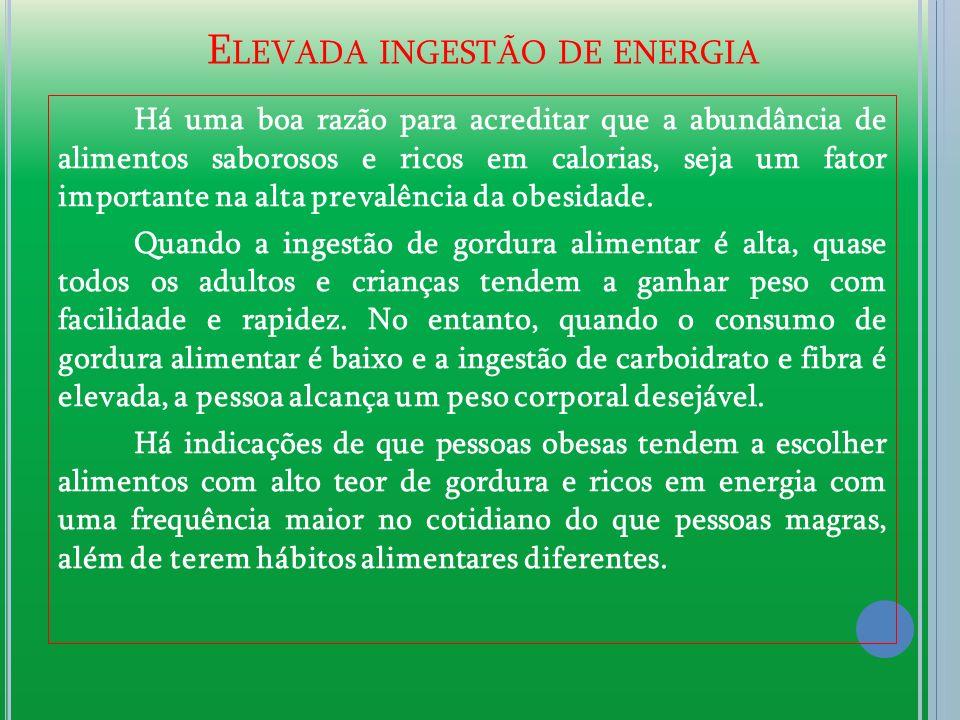E LEVADA INGESTÃO DE ENERGIA Há uma boa razão para acreditar que a abundância de alimentos saborosos e ricos em calorias, seja um fator importante na alta prevalência da obesidade.