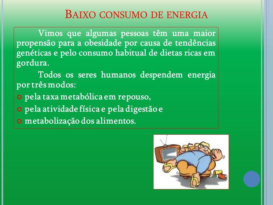 B AIXO CONSUMO DE ENERGIA Vimos que algumas pessoas têm uma maior propensão para a obesidade por causa de tendências genéticas e pelo consumo habitual