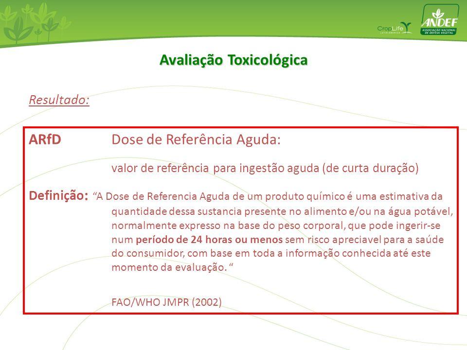 Resultado: IDA Ingestão Diária Aceitável: valor de referência para ingestão crônica Definição :