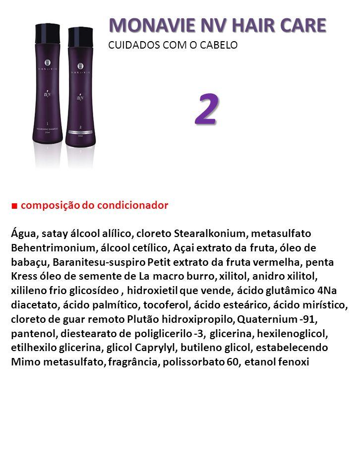 MONAVIE NV HAIR CARE CUIDADOS COM O CABELO composição do condicionador Água, satay álcool alílico, cloreto Stearalkonium, metasulfato Behentrimonium,