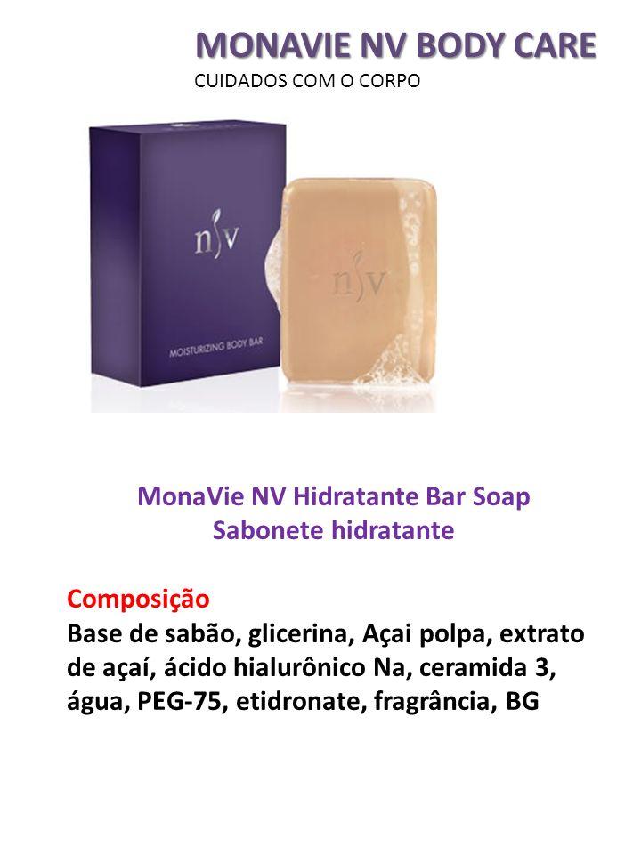 MONAVIE NV BODY CARE CUIDADOS COM O CORPO MonaVie NV Hidratante Bar Soap Sabonete hidratante Composição Base de sabão, glicerina, Açai polpa, extrato