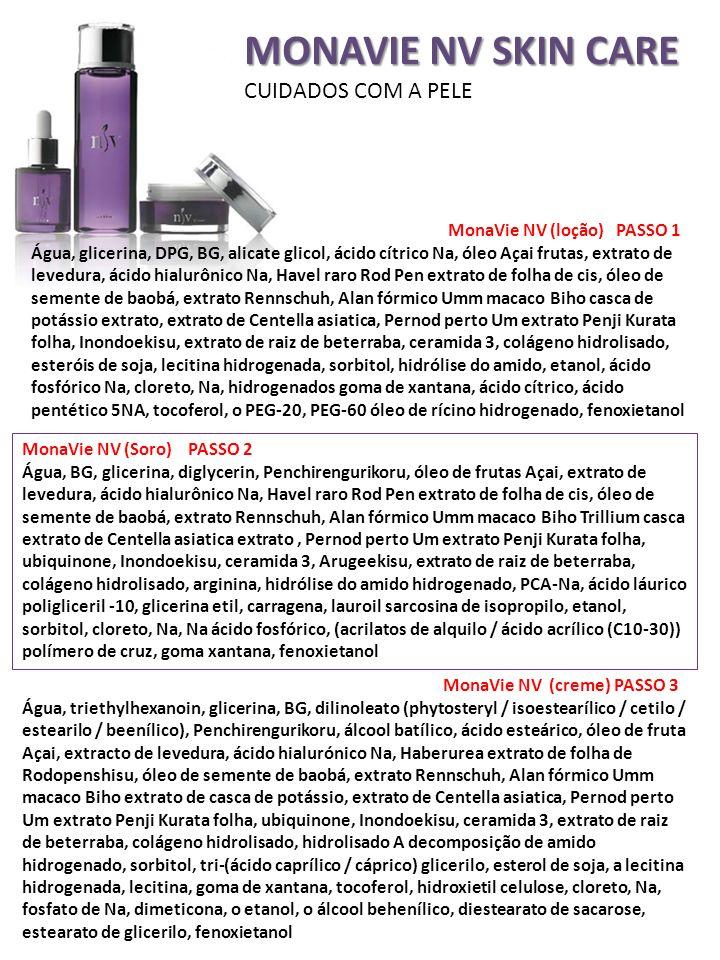 MONAVIE NV SKIN CARE CUIDADOS COM A PELE MonaVie NV (loção) PASSO 1 Água, glicerina, DPG, BG, alicate glicol, ácido cítrico Na, óleo Açai frutas, extr