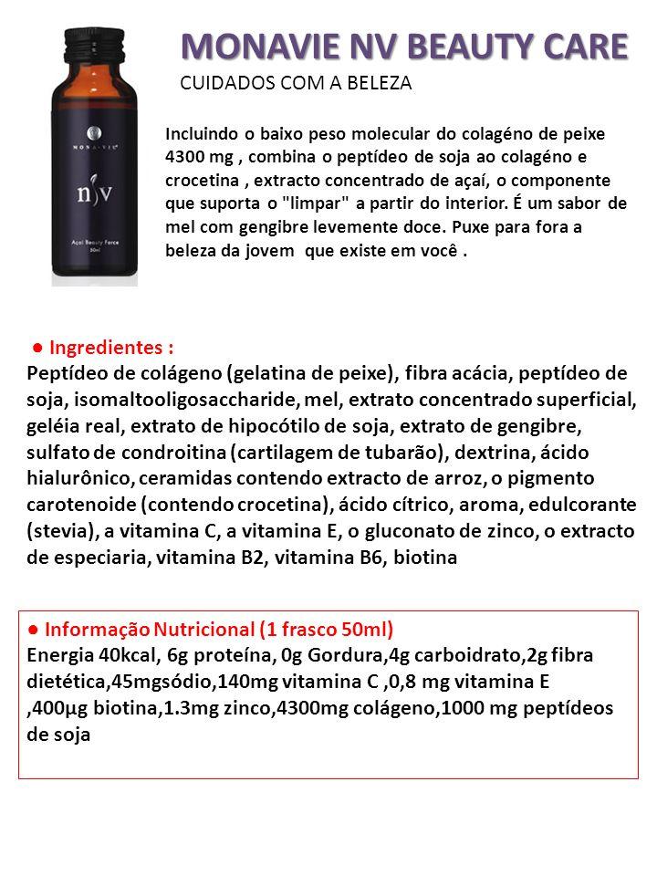 MONAVIE NV BEAUTY CARE CUIDADOS COM A BELEZA Incluindo o baixo peso molecular do colagéno de peixe 4300 mg, combina o peptídeo de soja ao colagéno e c