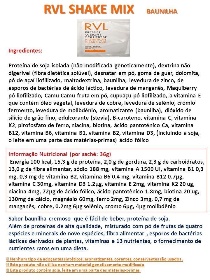 Informação Nutricional (por sachê: 36g) Energia 100 kcal, 15,3 g de proteína, 2,0 g de gordura, 2,3 g de carboidratos, 13,0 g de fibra alimentar, sódi