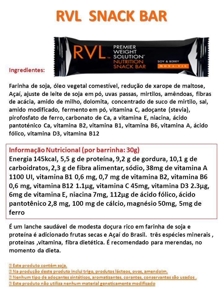 Informação Nutricional (por barrinha: 30g) Energia 145kcal, 5,5 g de proteína, 9,2 g de gordura, 10,1 g de carboidratos, 2,3 g de fibra alimentar, sód