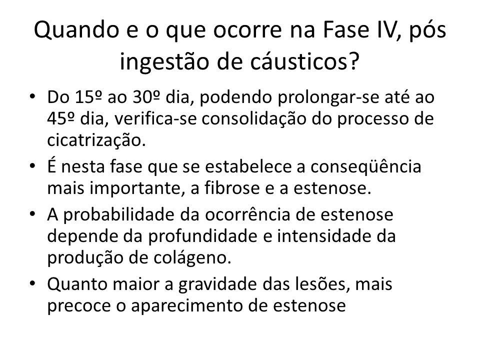 Quando e o que ocorre na Fase IV, pós ingestão de cáusticos? Do 15º ao 30º dia, podendo prolongar-se até ao 45º dia, verifica-se consolidação do proce