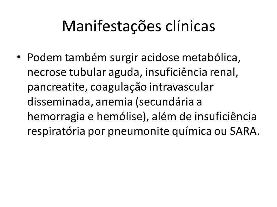 Manifestações clínicas Podem também surgir acidose metabólica, necrose tubular aguda, insuficiência renal, pancreatite, coagulação intravascular disse