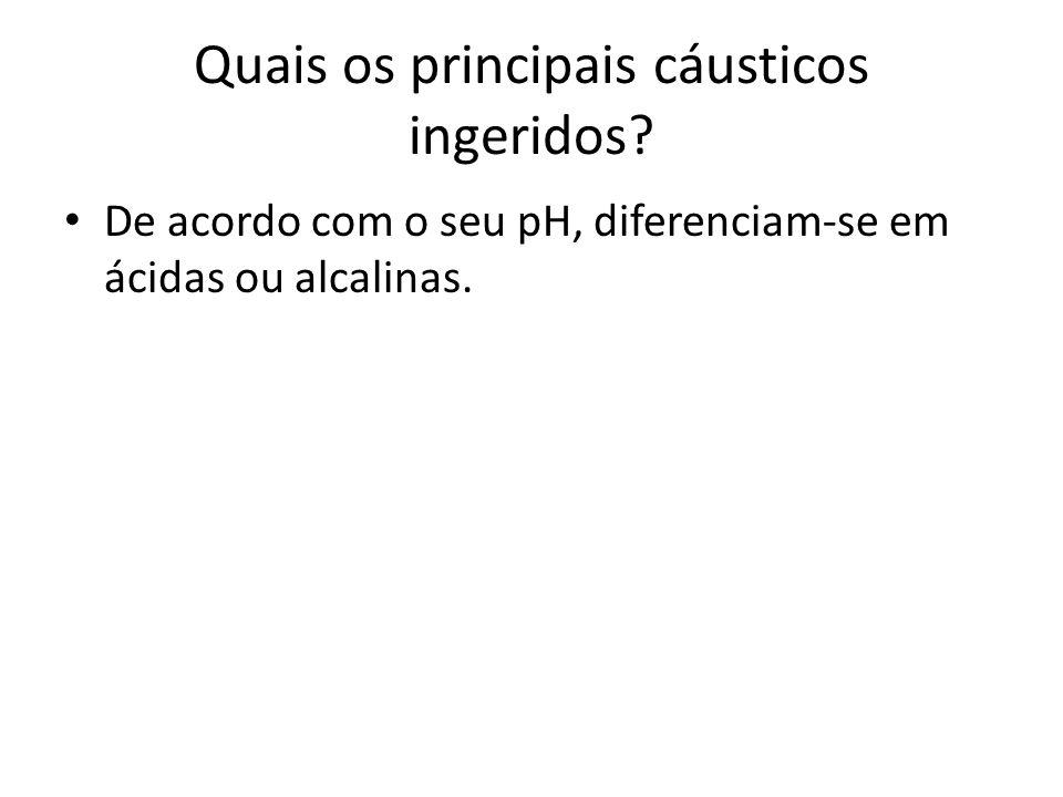 Quais os principais cáusticos ingeridos? De acordo com o seu pH, diferenciam-se em ácidas ou alcalinas.