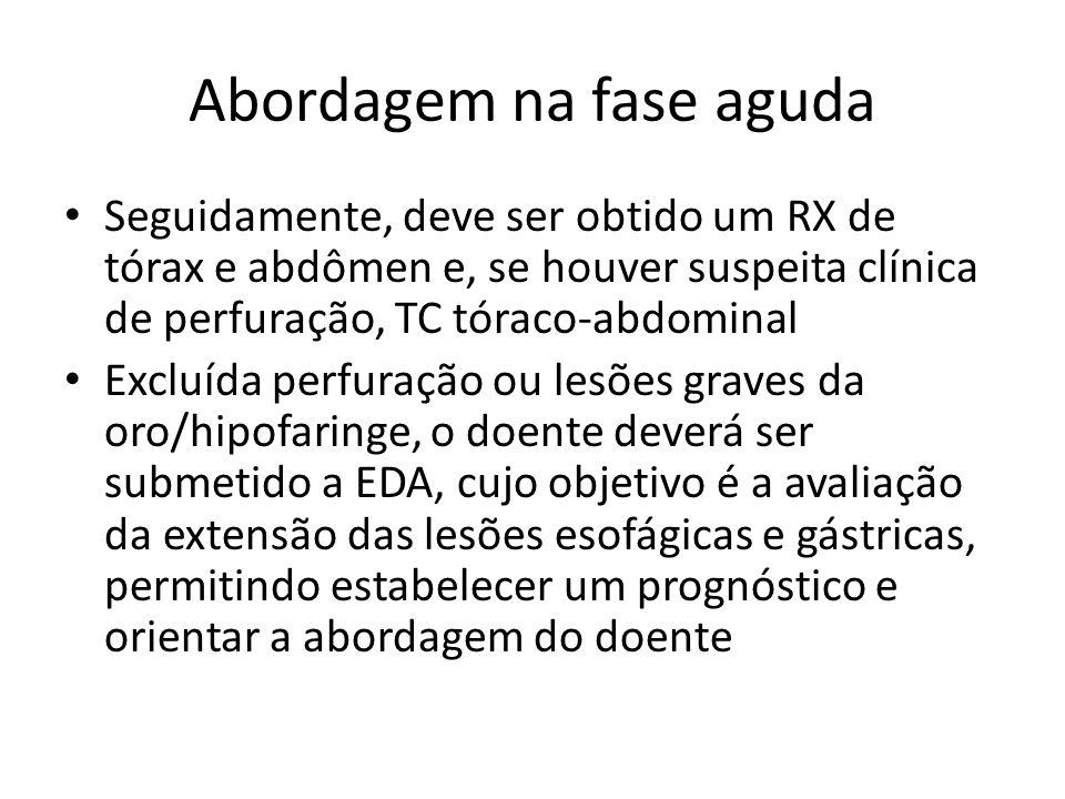 Abordagem na fase aguda Seguidamente, deve ser obtido um RX de tórax e abdômen e, se houver suspeita clínica de perfuração, TC tóraco-abdominal Excluí