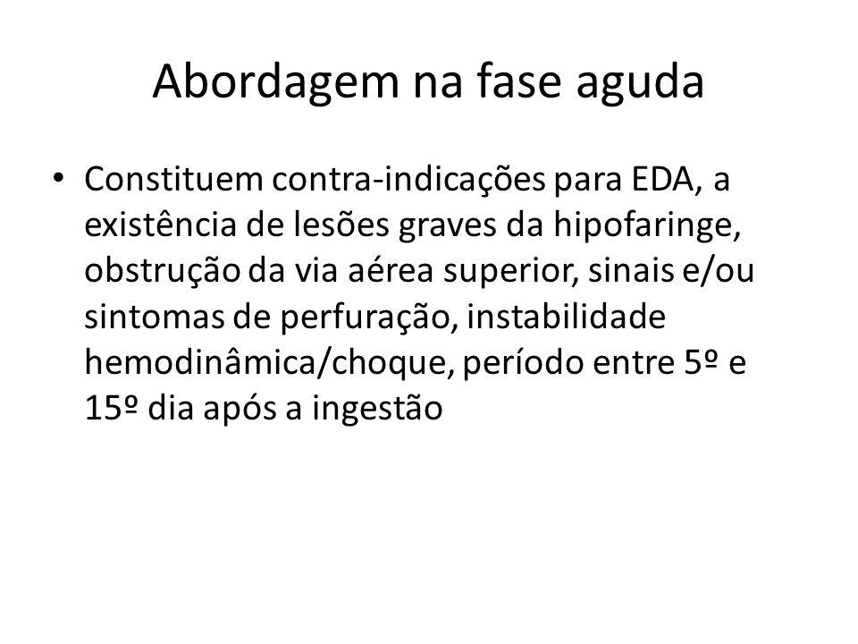 Abordagem na fase aguda Constituem contra-indicações para EDA, a existência de lesões graves da hipofaringe, obstrução da via aérea superior, sinais e