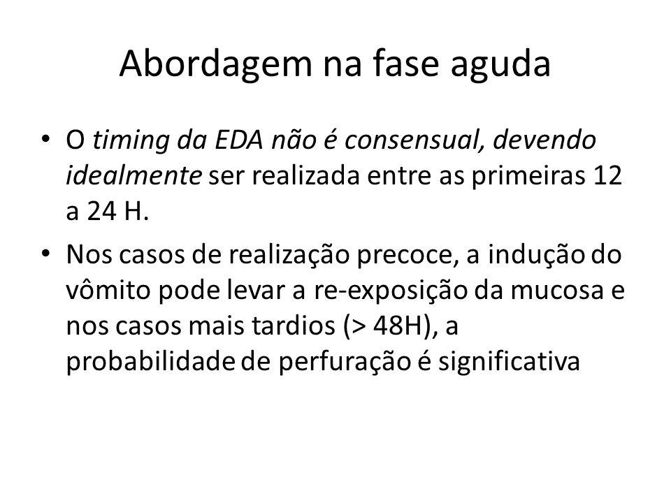Abordagem na fase aguda O timing da EDA não é consensual, devendo idealmente ser realizada entre as primeiras 12 a 24 H. Nos casos de realização preco