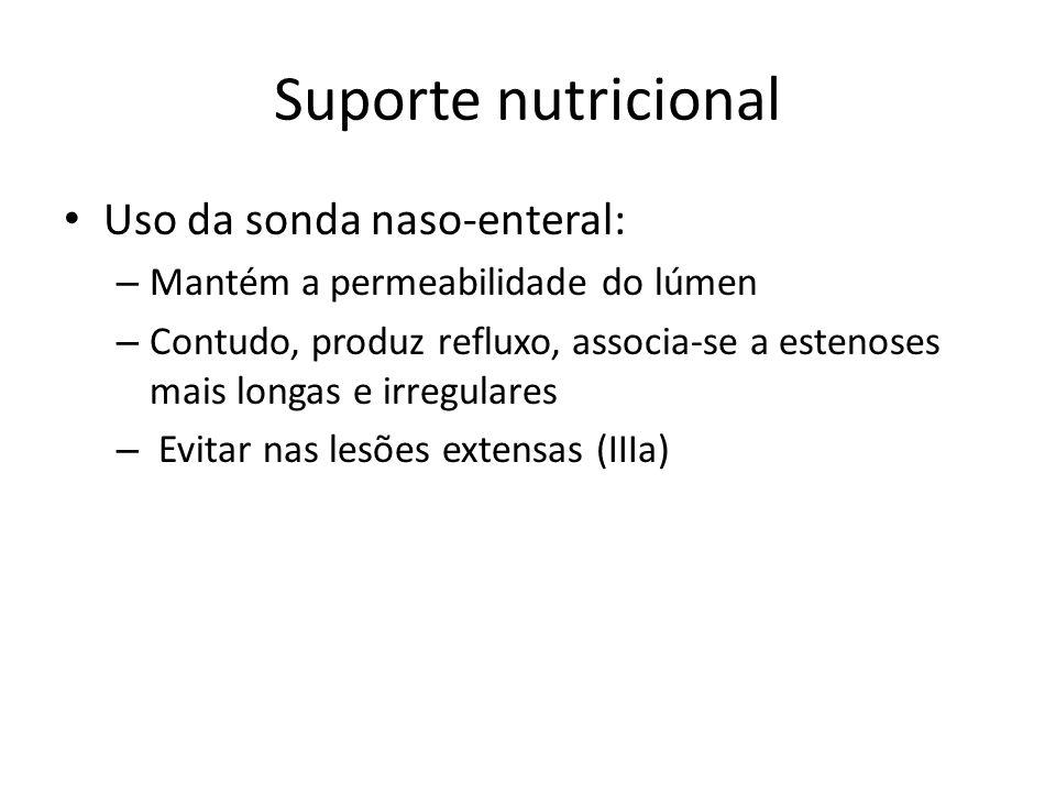 Suporte nutricional Uso da sonda naso-enteral: – Mantém a permeabilidade do lúmen – Contudo, produz refluxo, associa-se a estenoses mais longas e irre
