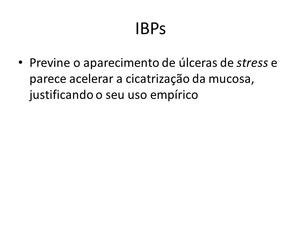 IBPs Previne o aparecimento de úlceras de stress e parece acelerar a cicatrização da mucosa, justificando o seu uso empírico