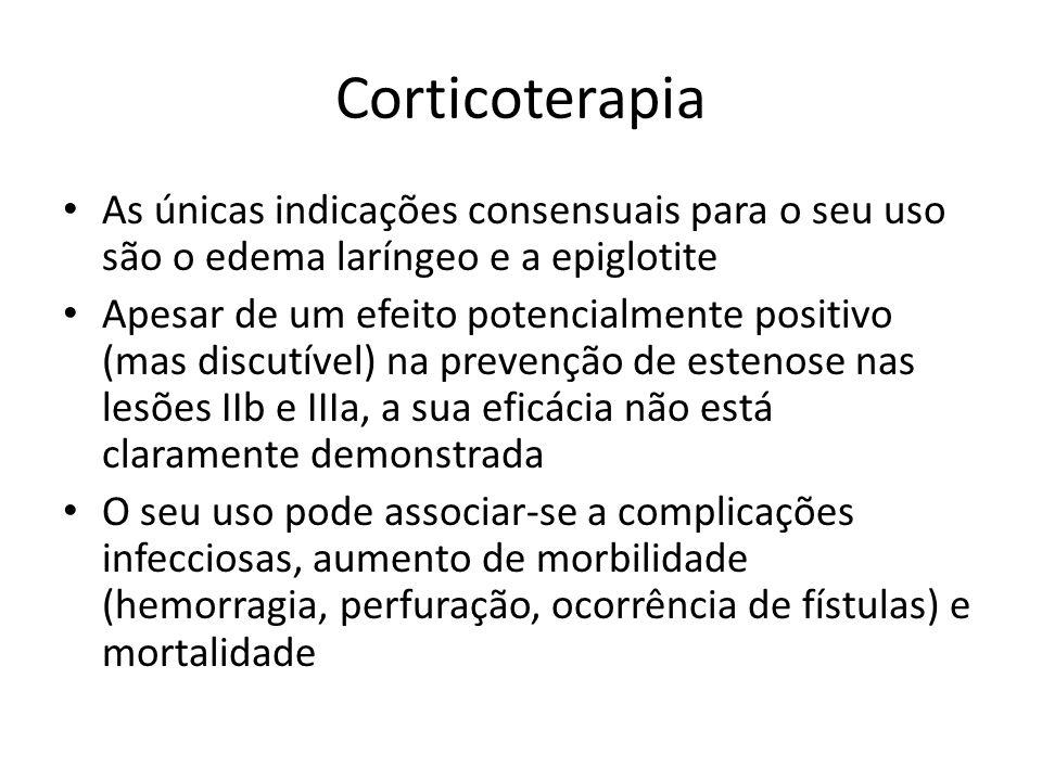 Corticoterapia As únicas indicações consensuais para o seu uso são o edema laríngeo e a epiglotite Apesar de um efeito potencialmente positivo (mas di