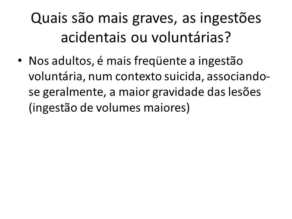 Quais são mais graves, as ingestões acidentais ou voluntárias? Nos adultos, é mais freqüente a ingestão voluntária, num contexto suicida, associando-