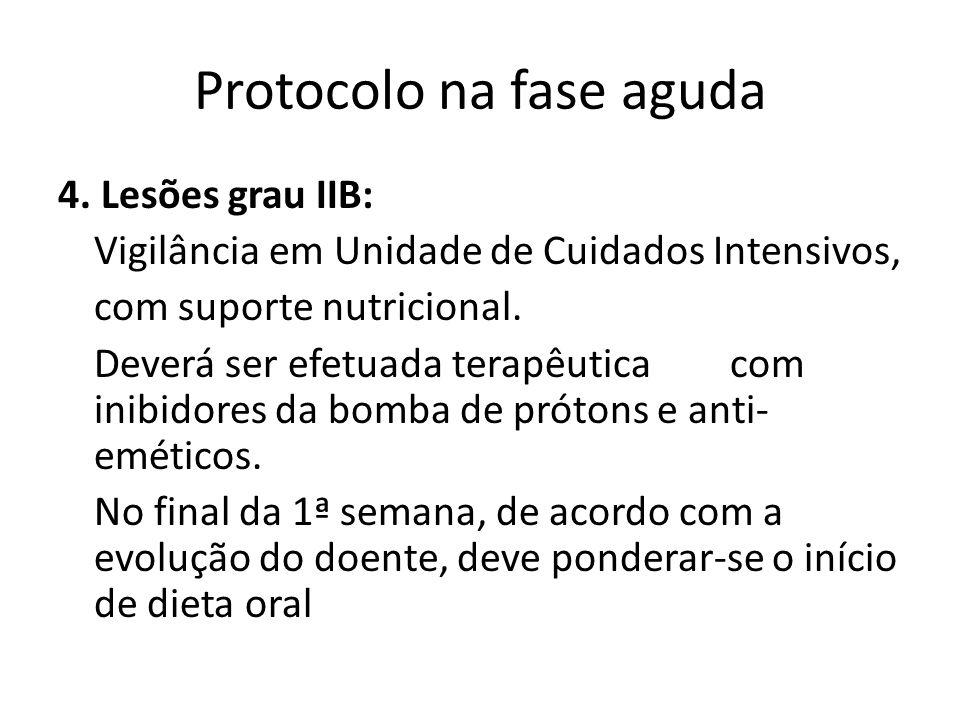 Protocolo na fase aguda 4. Lesões grau IIB: Vigilância em Unidade de Cuidados Intensivos, com suporte nutricional. Deverá ser efetuada terapêuticacom