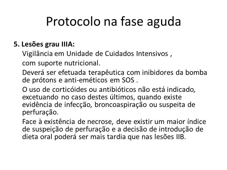 Protocolo na fase aguda 5. Lesões grau IIIA: Vigilância em Unidade de Cuidados Intensivos, com suporte nutricional. Deverá ser efetuada terapêutica co