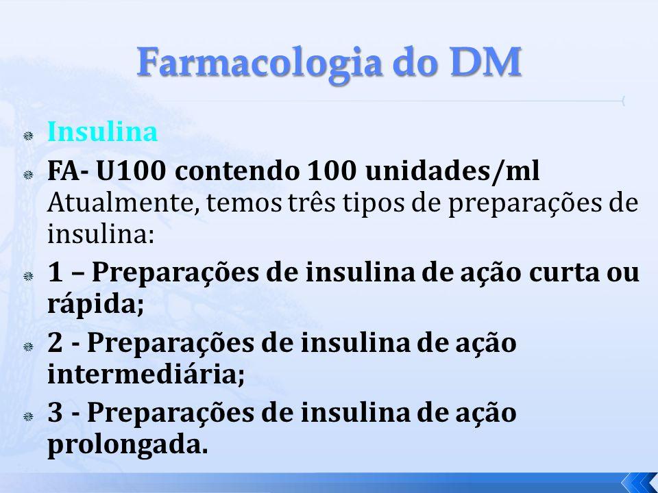 Insulina FA- U100 contendo 100 unidades/ml Atualmente, temos três tipos de preparações de insulina: 1 – Preparações de insulina de ação curta ou rápid