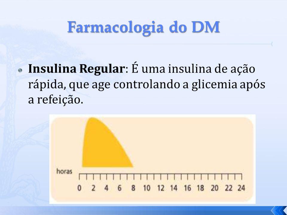Insulina Regular: É uma insulina de ação rápida, que age controlando a glicemia após a refeição.