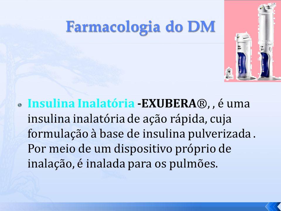 Insulina Inalatória -EXUBERA®,, é uma insulina inalatória de ação rápida, cuja formulação à base de insulina pulverizada. Por meio de um dispositivo p