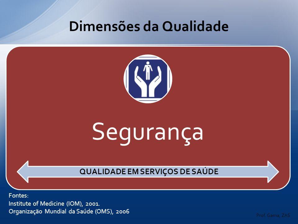 Dimensões da Qualidade Fontes: Institute of Medicine (IOM), 2001. Organização Mundial da Saúde (OMS), 2006 QUALIDADE EM SERVIÇOS DE SAÚDE Prof. Gama,